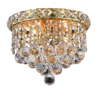 Elegant Lighting Tranquil 2 Light Flush Mount in Gold with Swarovski Strass Clear Crystal 2527F8G/SS