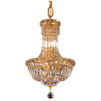 Elegant Lighting Tranquil 6 Light Pendant in Gold with Swarovski Strass Clear Crystal 2528D12G/SS
