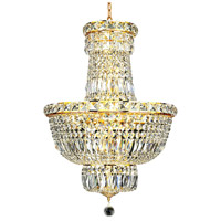 Elegant Lighting Tranquil 12 Light Dining Chandelier in Gold with Elegant Cut Clear Crystal 2528D18G/EC