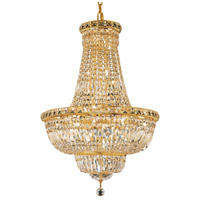Elegant Lighting Tranquil 22 Light Dining Chandelier in Gold with Elegant Cut Clear Crystal 2528D22G/EC