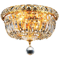 Elegant Lighting Tranquil 4 Light Flush Mount in Gold with Swarovski Strass Clear Crystal 2528F10G/SS