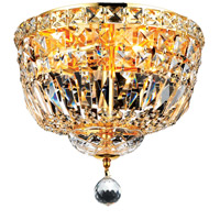 Elegant Lighting Tranquil 4 Light Flush Mount in Gold with Swarovski Strass Clear Crystal 2528F12G/SS