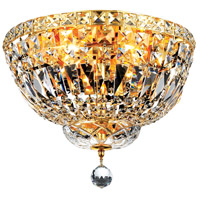 Elegant Lighting Tranquil 4 Light Flush Mount in Gold with Swarovski Strass Clear Crystal 2528F14G/SS