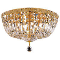 Elegant Lighting Tranquil 6 Light Flush Mount in Gold with Swarovski Strass Clear Crystal 2528F16G/SS