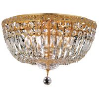 Elegant Lighting Tranquil 8 Light Flush Mount in Gold with Swarovski Strass Clear Crystal 2528F18G/SS