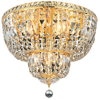 Elegant Lighting Tranquil 10 Light Flush Mount in Gold with Spectra Swarovski Clear Crystal 2528F20G/SA