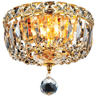 Elegant Lighting Tranquil 2 Light Flush Mount in Gold with Swarovski Strass Clear Crystal 2528F8G/SS