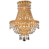 Elegant Lighting Tranquil 3 Light Wall Sconce in Gold with Elegant Cut Clear Crystal 2528W12G/EC