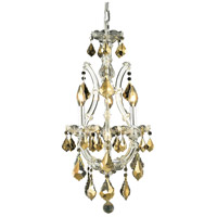 Elegant Lighting Maria Theresa 4 Light Pendant in Chrome with Royal Cut Golden Teak Crystal 2800D12C-GT/RC