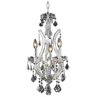 Elegant Lighting 2800D12C/RC Maria Theresa 4 Light 12 inch Chrome Pendant Ceiling Light in Clear, Royal Cut