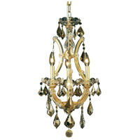 Elegant Lighting Maria Theresa 4 Light Pendant in Gold with Royal Cut Golden Teak Crystal 2800D12G-GT/RC