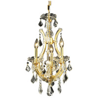 Elegant Lighting Maria Theresa 4 Light Pendant in Gold with Royal Cut Clear Crystal 2800D12G/RC