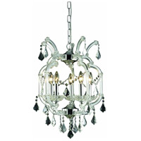Elegant Lighting Maria Theresa 5 Light Dining Chandelier in Chrome with Royal Cut Clear Crystal 2800D15C/RC