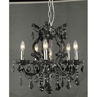 Elegant Lighting Maria Theresa 6 Light Dining Chandelier in Black with Royal Cut Jet Black Crystal 2800D20B/RC