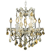 Elegant Lighting Maria Theresa 6 Light Dining Chandelier in Chrome with Royal Cut Golden Teak Crystal 2800D20C-GT/RC