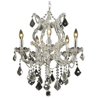 Elegant Lighting Maria Theresa 6 Light Dining Chandelier in Chrome with Royal Cut Clear Crystal 2800D20C/RC