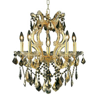 Elegant Lighting Maria Theresa 6 Light Dining Chandelier in Gold with Royal Cut Golden Teak Crystal 2800D20G-GT/RC alternative photo thumbnail