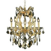 Elegant Lighting Maria Theresa 6 Light Dining Chandelier in Gold with Swarovski Strass Golden Teak Crystal 2800D20G-GT/SS