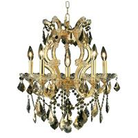 Elegant Lighting 2800D20G-GT/SS Maria Theresa 6 Light 20 inch Gold Dining Chandelier Ceiling Light in Golden Teak Swarovski Strass
