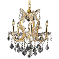 Elegant Lighting Maria Theresa 6 Light Dining Chandelier in Gold with Royal Cut Clear Crystal 2800D20G/RC