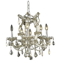 Elegant Lighting Maria Theresa 6 Light Dining Chandelier in Golden Teak with Swarovski Strass Golden Teak Crystal 2800D20GT-GT/SS