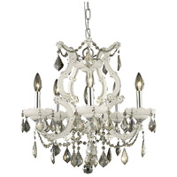 Elegant Lighting Maria Theresa 6 Light Dining Chandelier in White with Royal Cut Golden Teak Crystal 2800D20WH-GT/RC
