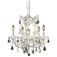 Elegant Lighting Maria Theresa 6 Light Dining Chandelier in White with Royal Cut Clear Crystal 2800D20WH/RC
