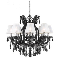 Maria Theresa 9 Light 28 inch Black Dining Chandelier Ceiling Light in Clear, Swarovski Strass, Silver Mini Shades