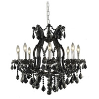 Elegant Lighting Maria Theresa 9 Light Dining Chandelier in Black with Royal Cut Jet Black Crystal 2800D26B/RC