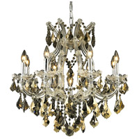 Elegant Lighting Maria Theresa 9 Light Dining Chandelier in Chrome with Royal Cut Golden Teak Crystal 2800D26C-GT/RC