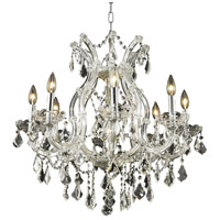Elegant Lighting Maria Theresa 9 Light Dining Chandelier in Chrome with Royal Cut Clear Crystal 2800D26C/RC
