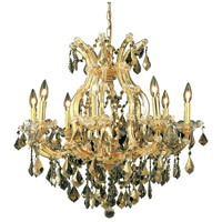Elegant Lighting Maria Theresa 9 Light Dining Chandelier in Gold with Swarovski Strass Golden Teak Crystal 2800D26G-GT/SS