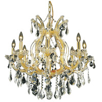 Elegant Lighting Maria Theresa 9 Light Dining Chandelier in Gold with Royal Cut Clear Crystal 2800D26G/RC - Open Box