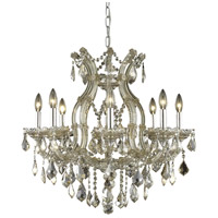 Elegant Lighting Maria Theresa 9 Light Dining Chandelier in Golden Teak with Royal Cut Golden Teak Crystal 2800D26GT-GT/RC - Open Box