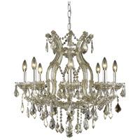 Elegant Lighting 2800D26GT-GT/RC Maria Theresa 9 Light 26 inch Golden Teak Dining Chandelier Ceiling Light in Royal Cut