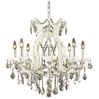 Elegant Lighting Maria Theresa 9 Light Dining Chandelier in White with Royal Cut Golden Teak Crystal 2800D26WH-GT/RC