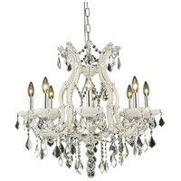 Elegant Lighting 2800D26WH/RC Maria Theresa 9 Light 26 inch White Dining Chandelier Ceiling Light in Clear Royal Cut