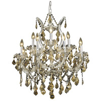 Elegant Lighting Maria Theresa 13 Light Dining Chandelier in Chrome with Royal Cut Golden Teak Crystal 2800D27C-GT/RC