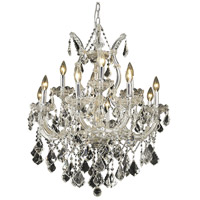 Elegant Lighting Maria Theresa 13 Light Dining Chandelier in Chrome with Royal Cut Clear Crystal 2800D27C/RC