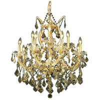 Elegant Lighting Maria Theresa 13 Light Dining Chandelier in Gold with Royal Cut Golden Teak Crystal 2800D27G-GT/RC
