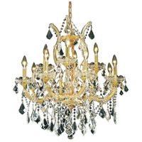 Elegant Lighting Maria Theresa 13 Light Dining Chandelier in Gold with Royal Cut Clear Crystal 2800D27G/RC