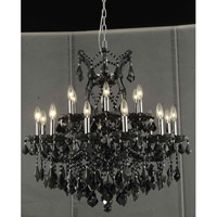Elegant Lighting Maria Theresa 19 Light Dining Chandelier in Black with Royal Cut Jet Black Crystal 2800D30B/RC