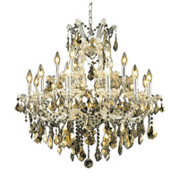 Elegant Lighting 2800D30C-GT/SS Maria Theresa 19 Light 30 inch Chrome Dining Chandelier Ceiling Light in Golden Teak, Swarovski Strass alternative photo thumbnail