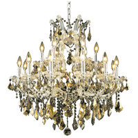 Maria Theresa 19 Light 30 inch Chrome Dining Chandelier Ceiling Light in Golden Teak, Swarovski Strass