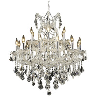 Elegant Lighting Maria Theresa 19 Light Dining Chandelier in Chrome with Elegant Cut Clear Crystal 2800D30C/EC