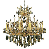 Elegant Lighting Maria Theresa 19 Light Dining Chandelier in Gold with Swarovski Strass Golden Teak Crystal 2800D30G-GT/SS