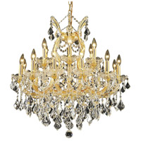 Elegant Lighting Maria Theresa 19 Light Dining Chandelier in Gold with Swarovski Strass Clear Crystal 2800D30G/SS