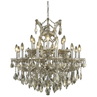 Elegant Lighting Maria Theresa 19 Light Dining Chandelier in Golden Teak with Royal Cut Golden Teak Crystal 2800D30GT-GT/RC