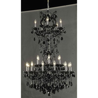 Elegant Lighting Maria Theresa 25 Light Dining Chandelier in Black with Royal Cut Jet Black Crystal 2800D30SB/RC