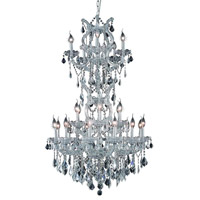 Elegant Lighting 2800D30SC/SS Maria Theresa 25 Light 30 inch Silver and Clear Mirror Dining Chandelier Ceiling Light in Swarovski Strass alternative photo thumbnail